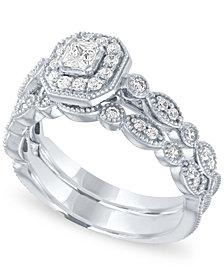 Diamond Halo Bridal Set (5/8 ct. t.w.) in 14k White Gold