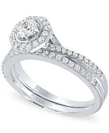 Diamond Halo Bridal Set (3/4 ct. t.w.) in 14k White Gold