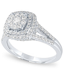 Diamond Halo Cluster Ring (1 ct. t.w.) in 14k White Gold