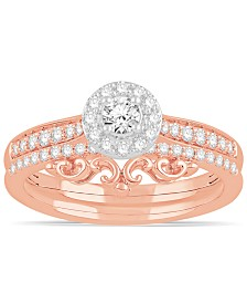 Diamond Two-Tone Halo Bridal Set (1/2 ct. t.w.) in 14k White and Rose Gold