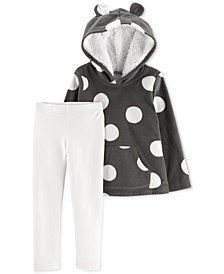 Carter's Baby Girls 2-Pc. Dot-Print Hoodie & Glitter Leggings Set
