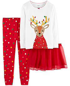 Carter's Baby Girls 3-Pc. Reindeer Tutu Pajama Set