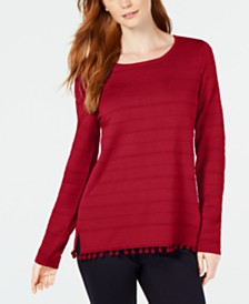 Charter Club Pom Pom-Trim Sweater, Created for Macy's