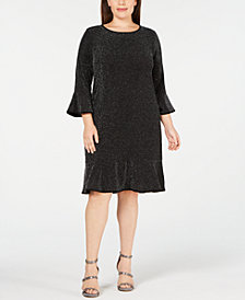 Michael Kors Plus Size Sparkly Metallic Dress