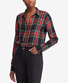 Ralph Lauren Petite Crest Twill Plaid Shirt