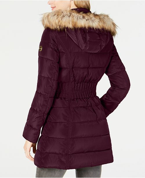 2d04fa48d9bde Laundry by Shelli Segal Faux-Fur-Trim Puffer Coat   Reviews - Coats ...