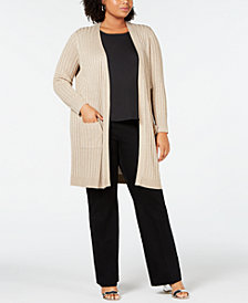 JM Collection Plus Size Metallic Cardigan, Created for Macy's