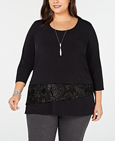 JM Collection Plus Size Velvet-Trim Necklace Top, Created for Macy's