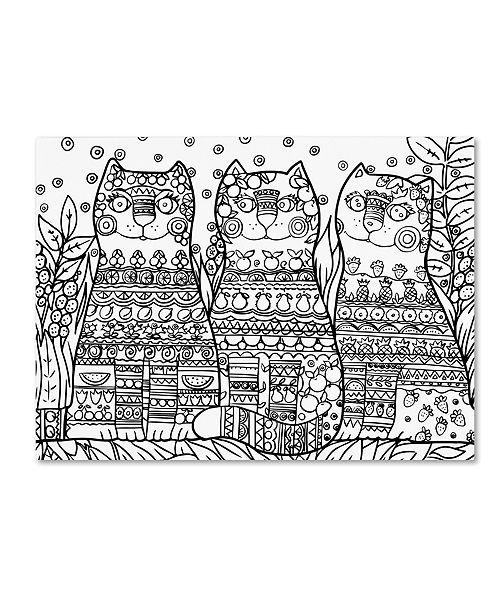 "Trademark Global Oxana Ziaka 'Magic Happy Cats! 2' Canvas Art - 19"" x 14"" x 2"""