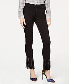 I.N.C. Petite Black Fringe-Hem Skinny Jeans, Created for Macy's