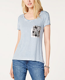 I.N.C. Sequined Glitter-Block T-Shirt, Created for Macy's