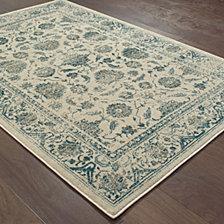 "Oriental Weavers Linden 7909A Ivory/Blue 3'10"" x 5'5"" Area Rug"