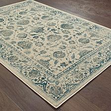 "Oriental Weavers Linden 7909A Ivory/Blue 5'3"" x 7'6"" Area Rug"