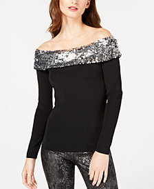 I.N.C. Sequined Off-The-Shoulder Sweater, Created for Macy's