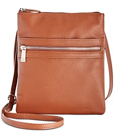 Triple-Zip Pebble Leather Dasher Crossbody, Created for Macy's