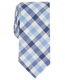 Bar III Men's Slim Bold Heather Gingham Tie, Created for Macy's