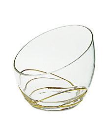 Classic Touch Swirl Egg Shaped Bowl With 14K Gold Swirl Design