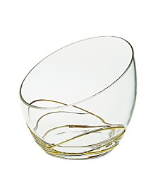 Swirl Egg Shaped Bowl With 14K Gold Swirl Design