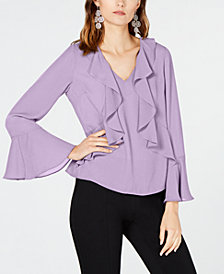 I.N.C. Petite Bell-Sleeve Ruffle-Trim Top, Created for Macy's