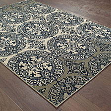 "Oriental Weavers Linden 7818A Navy/Ivory 7'10"" x 10'10"" Area Rug"