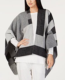 Eileen Fisher Colorblocked Open-Front Poncho
