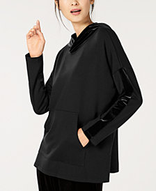Eileen Fisher Relaxed Striped-Sleeve Hoodie