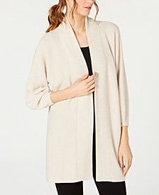 Eileen Fisher Wool Bracelet-Sleeve Cardigan
