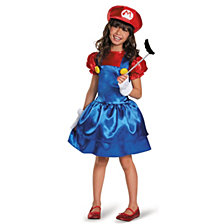 Super Mario Bros Mario W or skirt Big Girls Costume