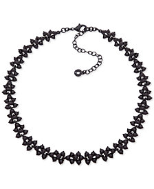 "Anne Klein Black-Tone Crystal Collar Necklace, 16"" + 3"" extender, Created for Macy's"