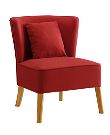Accent Chair with Curved Back in Red