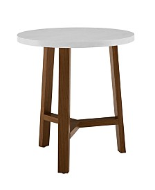 20 inch Round Side Table in Faux White Marble and Acorn