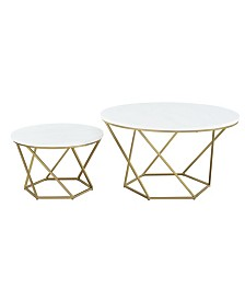 Geometric Nesting Coffee Tables in Faux White Marble and Gold