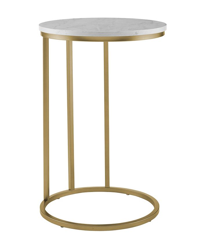 Walker Edison - 16 inch Round C Table with White Faux Marble Top and Gold Base