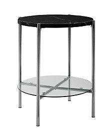 20 inch Round Side Table in Black Faux Marble with Glass Shelf and Chrome Legs
