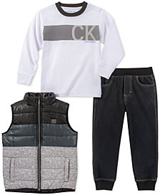 Calvin Klein Baby Boys 3-Pc. Colorblocked Vest, Logo-Print T-Shirt & Jogger Pants Set