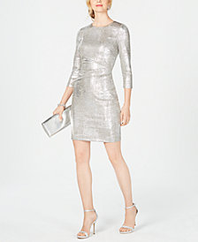 Vince Camuto 3/4-Sleeve Metallic Bodycon Dress