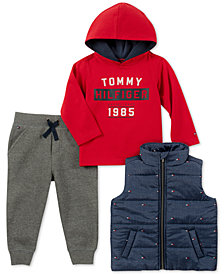 Tommy Hilfiger Baby Boys 3-Pc. Vest, Hoodie & Jogger Pants Set