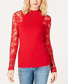 I.N.C. Lace-Sleeve Mock-Neck Sweater, Created for Macy's
