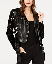 I.N.C. Sequined Faux-Leather Moto Jacket