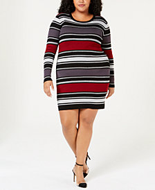 Planet Gold Trendy Plus Size Striped Sweater Dress