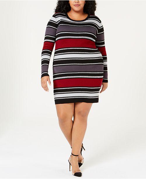 Planet Gold Trendy Plus Size Striped Sweater Dress ...