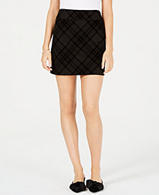 Maison Jules Flocked-Plaid Mini Skirt, Created for Macy's