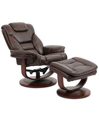 Furniture Faringdon Leather Euro Chair Ottoman