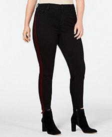 Celebrity Pink Plus Size Velvet Varsity-Stripe Skinny Jeans