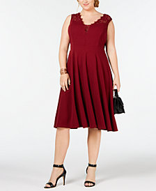 Soprano Trendy Plus Size Lace-Trim Fit & Flare Dress