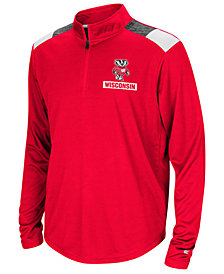 Colosseum Wisconsin Badgers 99 Yards Quarter Zip Pullover, Big Boys (8-20)