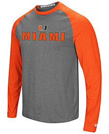Colosseum Men's Miami Hurricanes Social Skills Long Sleeve Raglan Top