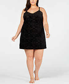 I.N.C. Plus Size Burnout Velvet Chemise, Created for Macy's