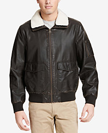 Dockers Men's Faux-Leather Aviator Jacket