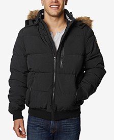 Men's Hooded Bomber Jacket with Faux-Fur Trim